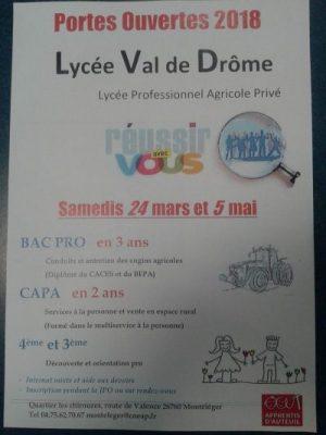 portes ouvertes en 2018 au lycée du Val de Drome
